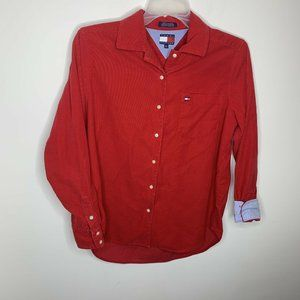 Tommy Hilfiger Womens 10 Red Corduroy Long Sleeve